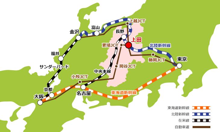 上田市へのアクセスの画像